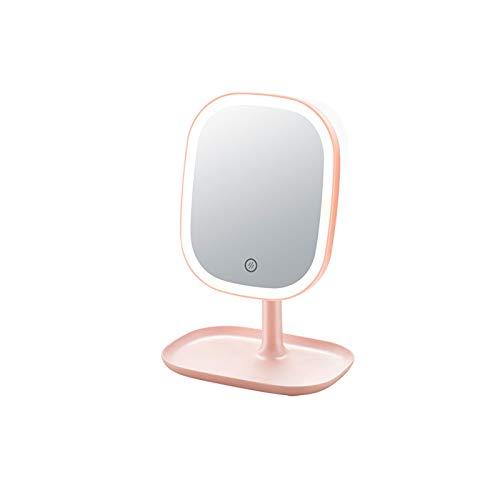 ACCP Espejo Maquillaje,Espejo tocador con Pantalla táctil de Alta definición con Brillo LED Ajustable,rotación de 180 °,Espejos de sobremesa,portátil,Recargable por USB,8.4 Pulgadas (Verde)