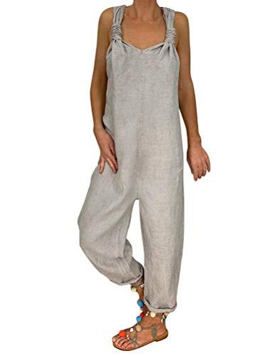 Onsoyours Petos de Pantalones Largo Casual para Mujer Verano Baggy Harem Mono Suelto Moda Bolsillos Overoles Jumpsuit Tirantes Color Sólido Pantalón