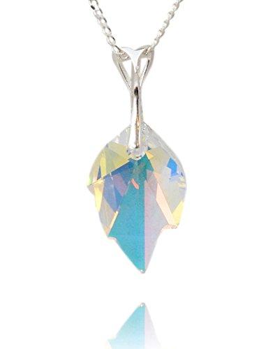 Crystals & Stones *BLATT* 26 mm *Crystal AB* mit Silberkette aus 925 Silber mit original Swarovski® Elements Anhänger,Halskette mit Schmucketui