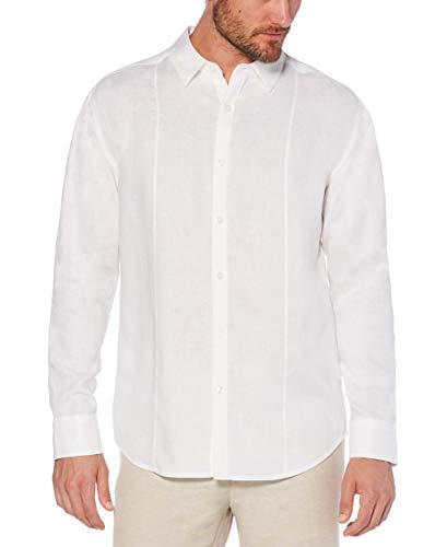 Cubavera Men's Long Sleeve Essential Linen Shirt, Bright White, Large