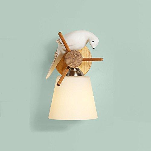 Creative Nordique Moderne Minimaliste Résine Birdie Bois Mur Lampe Chambre Chambre Verre Mur Lumière (conception : Nod)