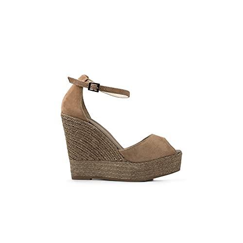 Espadrilles Camel - Zapatos de mujer con cuña de color Size: 39 EU
