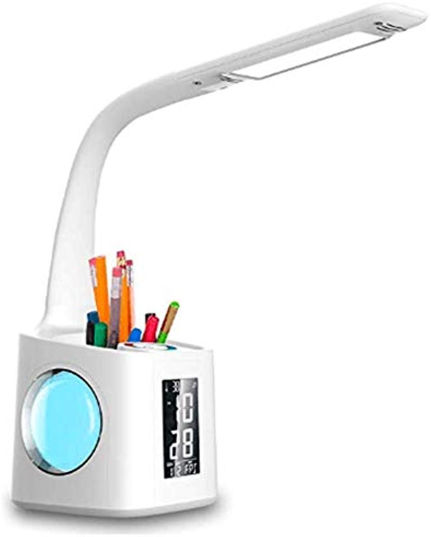 APJJ Schreibtischlampe LED-Lernlicht Mit Stifthalter, Schreibtischlampe Mit Dimmbarer Touch-Steuerung Und Farbnachtlicht USB-Ladeschnittstelle Uhr   Thermometer Und Vorbeugung Von Kurzsichtigkeit,B