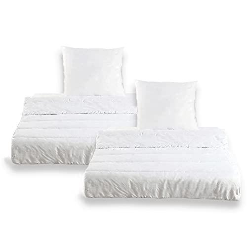 4 teiliges Microfaser Bettenset OekoTex - 135x200 cm Kissen 80x80 cm Ganzjahres Bettdecke und Kopfkissen weiß