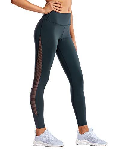CRZ YOGA - Malla Pantalones Deportivos Elastico Cintura Media Fitness Yoga para Mujer -71cm Verde Oscuro - R426 42