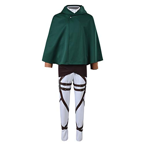 Green Survey Corps Cloak Cape Cosplay Costume Eren Yeager Full Set...