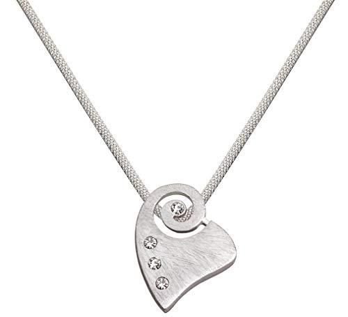 Perlkönig Kette Halskette | Damen Frauen | Matt Silber Farben | Herz Muschel förmig | Glitzer Steine | Nickelabgabefrei