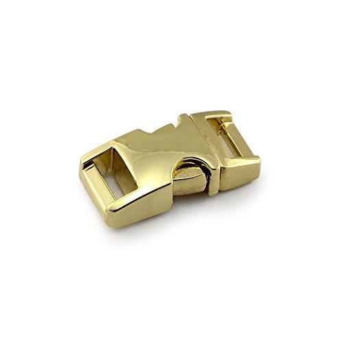 Kliksluiting van metaal in 10-delige set, 3/8'' clipsluiting/steeksluiting/steeksluiting voor paracord-armbanden, hondenhalsbanden, rugzak, kleur: goud