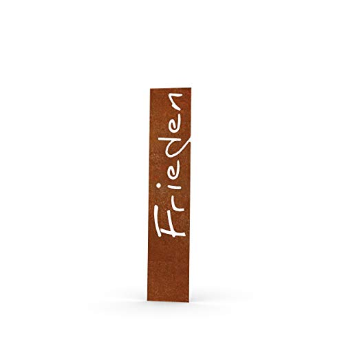 MEILLER MetallDesign | Stele Frieden aus Metall für die Gartendekoration (Cortenstahl) 100 cm steckbar