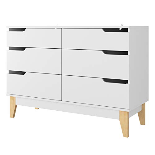 Homfa Kommode mit 6 Schubladen Sideboard Beistellschrank für Wohnzimmer Flur weiß 107 x 40 x 75 cm
