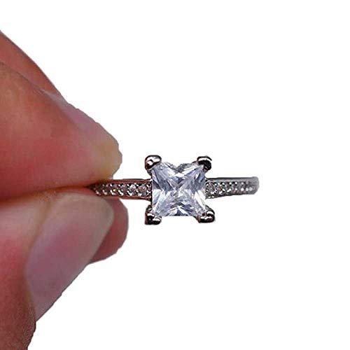 WSSVAN Anillo, Clásico anillo de princesa platino diamante anillo super sona diamante anillo natural gema boda boda compromiso princesa anillo joya regalo de joyería (Plata, 6)