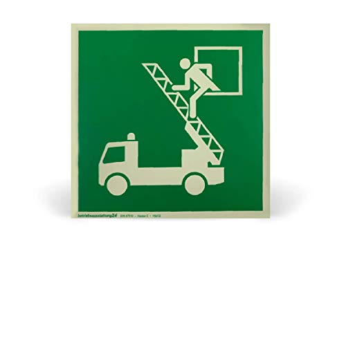 Betriebsausstattung24® 1000011 Fluchtwegschild Rettungszeichen Rettungsausstieg (Rettungsfenster) ASR A1.3 ISO 7010 E017 Folie (klebend) langnachleuchtend DIN 67510 Klasse C (Folie, 20 x 20 cm)
