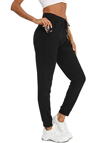 Damen Jogginghose Sportswear-Hosen Casual Sweathose Baumwolle Yogahose Sporthosen Athletic-Pants Vier Jahreszeiten 98/100/101.5/103/104.5cm Schwarz M