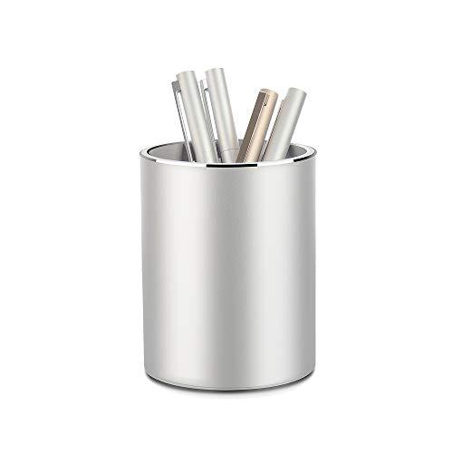 Vaydeer Metall Stiftehalter Runder Aluminium Stifteköcher Schreibtisch Organizer und Bleistift Aufbewahrungsbox für Büro, Schule, Haushalt und Kinder, 8x10 cm, Silber