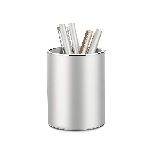 Metal Pencil and Pen Holder Vaydeer Round Aluminum Desktop Organizer and Cup Storage Box for Office,School,Home and Kids 3.9×3.1 inch…