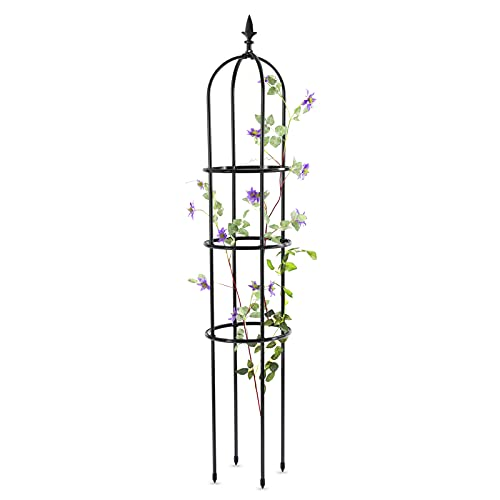 Tower Garden Obelisk Trellis, Metal with Plastic Coating Rustproof Sun-Protection, Plant Support for Potted Plants Indoor, Trellis Arch for Climbing Vines Outdoor, Lightweight, 71' x 12.7', Black, 1pc