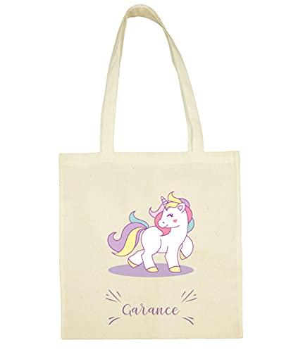 C32 Tote Bag Licorne à personnaliser, sac licorne, sac enfant licorne, sac coton, tote bag personnalisable, sac prénom, sac bibliothèque