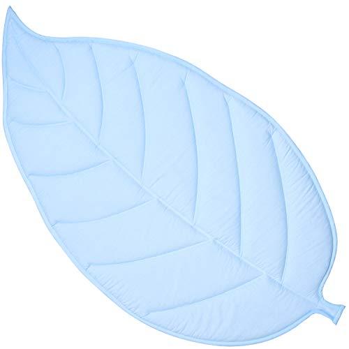 Amilian Manta acolchada para gatear para bebé, alfombra de juego, alfombra de hojas, alfombra de juego, alfombra de algodón, color azul claro