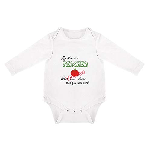 VinMea Baby Bodysuits Funny Long Sleeve My MOM Is A Teacher What Super Power Does Your Mom Have for Sweet Baby Girls & Boys (9-12 Months)