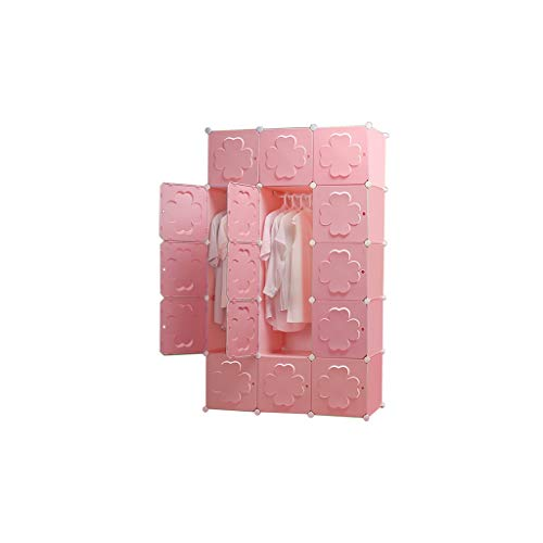 Why Should You Buy QSJY Bedroom Armoires Assemble Plastic Cloth Wardrobe Cube Organiser Pink 111×47...