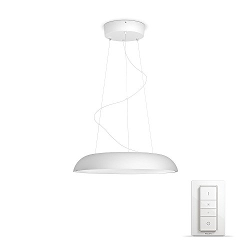Philips Lighting Hue Amaze Lampada a Sospensione Smart, LED Integrato, 39 W, Bianca, con Telecomando Hue Dimmer Switch Incluso, 43.4 X 43.4 X 140 Cm