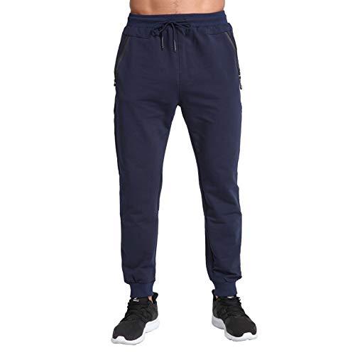 ZOXOZ Jogginghose Herren Baumwolle Sporthose Herren Trainingshose Männer Lang Fitness Hosen Herren mit Reißverschluss Taschen Blau L