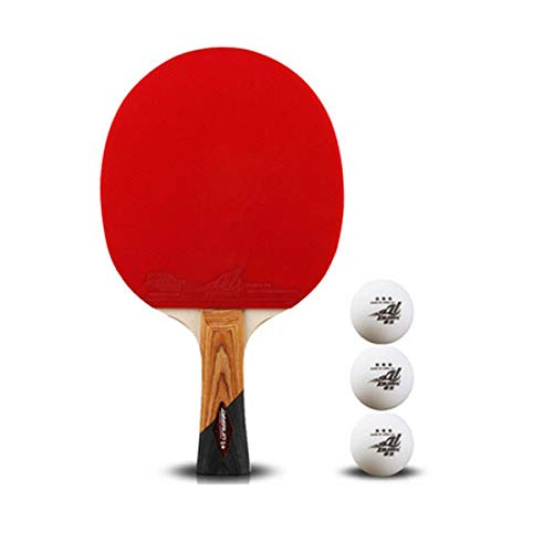 Buy Bargain HAOYUSHANGMAO Table Tennis Racket, Suitable for Outdoor Sports and Fitness Rackets, Five-Star Beginners Table Tennis Racket Single Shot 1 (Giving 3 Balls) Easy to Carry (Style : Horizontal Single)