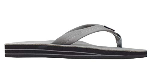 Rainbow Sandals Men's Premier Leather Double Layer with Arch Wide Strap, Grey, Men's Large / 9.5-10.5 D(M) US