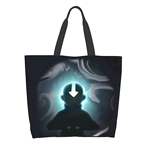 Anime Avatar The Last Airbender - Bolsa de hombro para mujer, gran capacidad, para compras, escuela, trabajo, bolsa de almacenamiento de comestibles