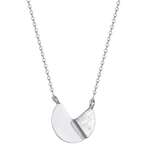 Gbrand Collar Redondo de Acero Inoxidable para Mujer, Cadena geométrica de Oro y Plata, Cadenas Colgantes Vintage, Collares, Regalo-Silver_Color