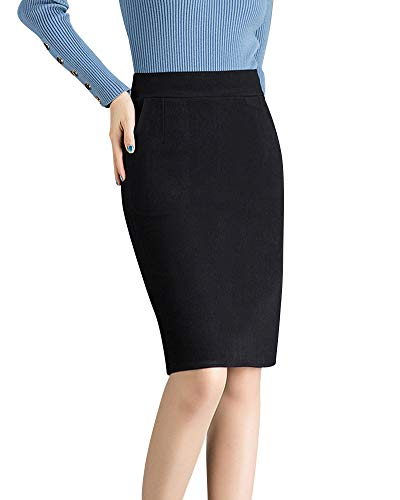 Quge Mujer Elástico Bodycon Lápiz Midi Falda De Oficina Invierno Faldas De Calentar Grueso Negro 2XL