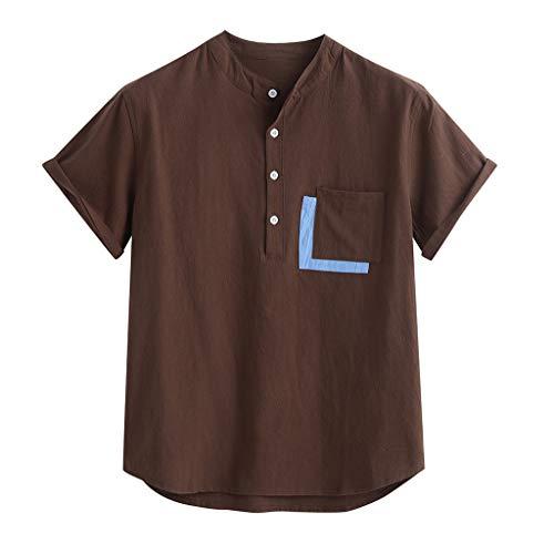 HebeTop Mens Cotton Linen Henley Shirt Loose Fit Short Sleeve Casual T-Shirt Beach Yoga Tops Coffee