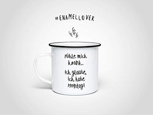 Montag Emaille-Becher — Edelstahltasse, Outdoor-Tasse, Kaffeetasse, Kaffee, Geschenk Krankheit, Gute Geneseung, Gute Besserung, Bürotasse, Montag, Montagstasse, Montagsmotivation