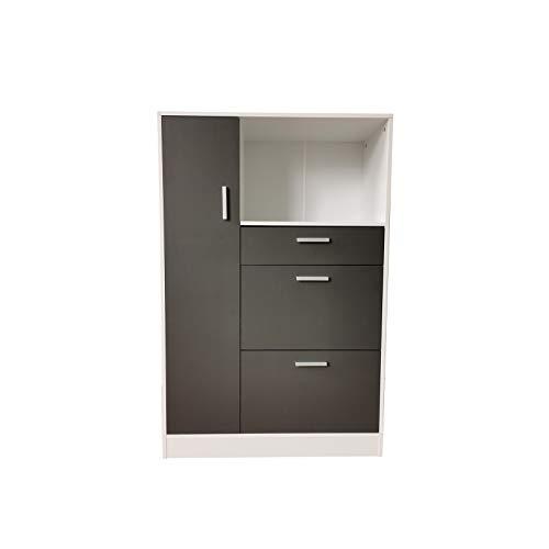 HTI-Line Küchenschrank Kombi L Blanca Küchenbuffet Küchenschrank Mehrzweckschrank Mikrowellenschrank Küchenmöbel Weiß, Grau