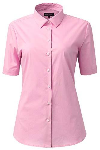 HORSE SECRET Dames zomer blouse Workwear Basic hemd Slim Fit korte mouwen katoen effen gekleurd voor pak business werk met borstzak gemakkelijk te strijken, 11 kleuren