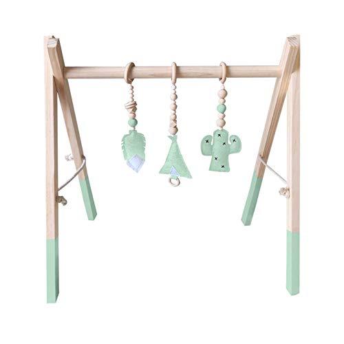 H.B.YE - Centro de actividades, juguete de madera, juegos de gimnasia social, gimnasio de juego para bebé + 3 colgantes tamaño 60 x 43 x 40 cm (B# Verde)