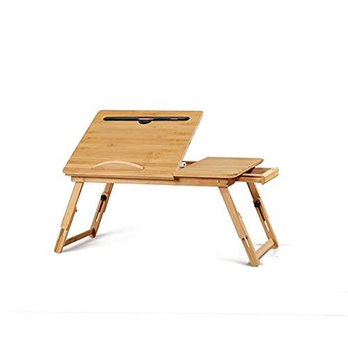 GHHZZQ Ajustable Mesa de Bambú Escritorio de Computadora Simple Estante de Escritorio Plegable por Cama/Sofá/Dormitorio Estudiando En La Cama (Color : B, Size : 50x30cm)