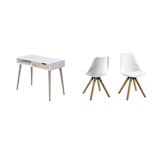 Movian Havel Scandinavian - Escritorio con 1 cajón, 50 x 100 x 75 cm (Blanco) + Amazon Brand - Movian Arendsee - Juego de 2 taburetes de Bar, 55 x 48,5 x 85 cm (Largo x Ancho x Alto), Blanco