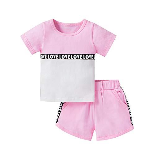 Traje de verano para niña de bebé, conjunto deportivo de manga corta, camisa de amor, pantalones cortos, 2 piezas de ropa, Rosa/Rebel Fun., 18-24 Meses