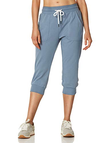 7GOALS Workout Capri Joggers for Women Lounge Drawstring Sweatpants Pockets French Terry Yoga Running Active Sweat Pant Steel Blue