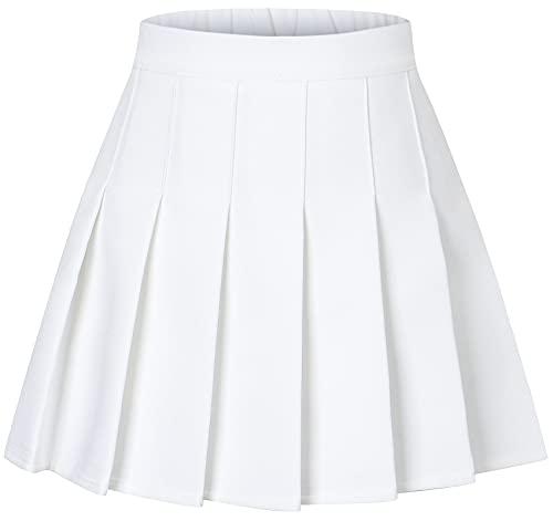 Junior Teen Girls Womens High Waist School Uniform Cosplay Costume Pleated Short Skirt, Cream White US L = Tag 12-14