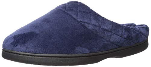 Dearfoams Women's Darcy Microfiber Velour Clog with Quilted Cuff Peacoat Large US