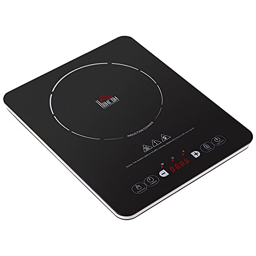 HOMCOM Portable Induction Hob Induction Cooker 2000W Single Hot Plate Electric Cooktop with 8 Power & Temperature Levels 4H Timer Child Lock Sensor Touch LED Display Ceramic Glass Panel