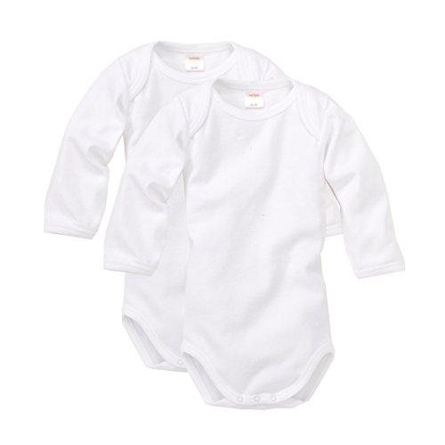 WELLYOU Conjunto de 2 Bodys Mangas largas para bebés, Conjunto de 2 Color Blanco. Tallas 50-134 (92-98)