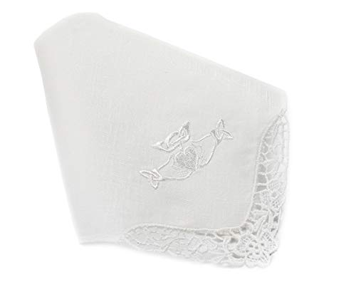 Thomas Ferguson Women's White Irish Linen Handkerchief, Lace Edge Claddagh Embroidery in Gift Box 10