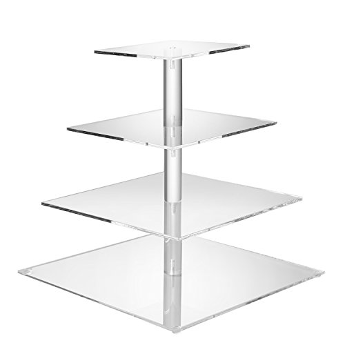 Flexzion 4 Tier Cupcake Stand Holder Tower - Wedding Birthday Party Plastic Pastry Display Tree for Baby Family Afternoon Dessert - Tiered Acrylic Glass Cake Carrier w/Top Tier (4 Tier Clear, Square)