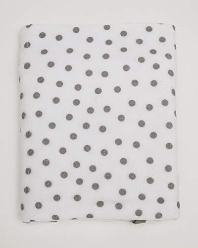 Ti TIN - Mantita para Bebé de Coralina con Estampado de Puntos | Manta Ligera Cálida y Suave Útil para Coche - Minicuna - Cuna, 75x110 cm, Color Gris