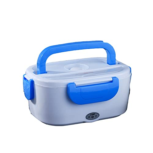 SIQI 12V Fiambrera con calefacción eléctrica Caja térmica Bento Calentador de alimentos con contenedor de comida de acero desmontable de 1.5L para automóvil (12V para automóvil)-blue