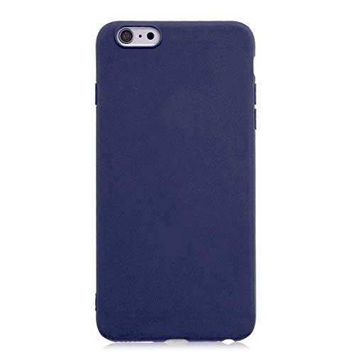 cuzz Funda para iPhone 6/6S+{Protector de Pantalla de Vidrio Templado} Carcasa Silicona Suave Gel Rasguño y Resistente Teléfono Móvil Cover-Azul Oscuro