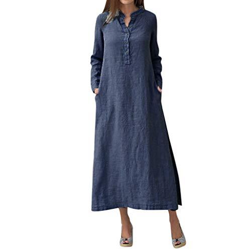 GreatestPAK Damen Kaftan Baumwolle Langarm Plain Casaul Maxi-Shirt-Kleid Langes Kleid,Marine,XL